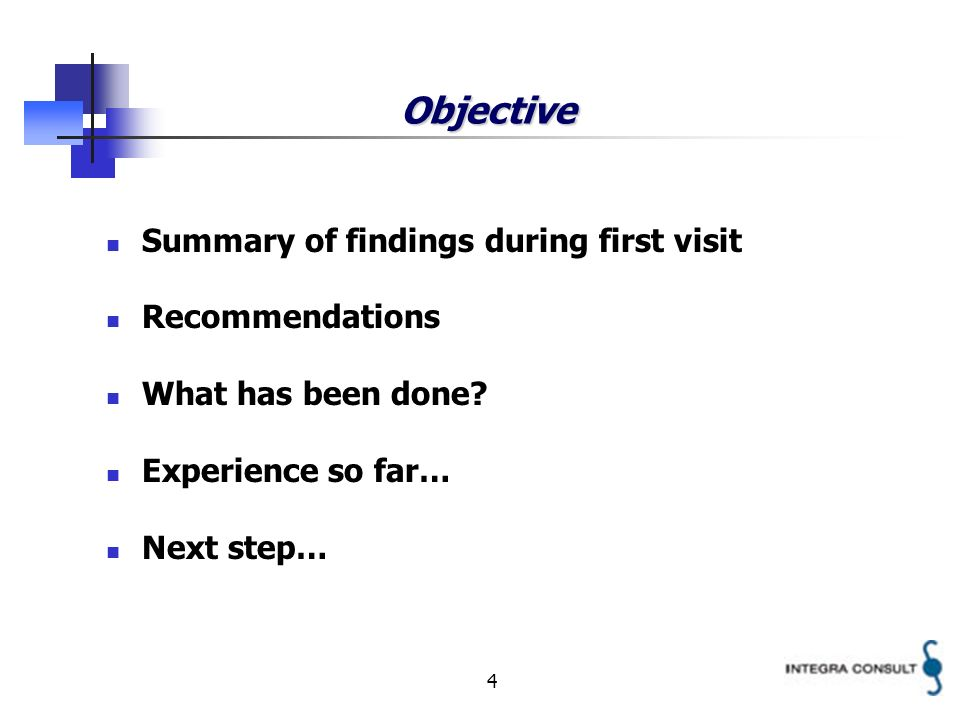 4 Objective Summary of findings during first visit Recommendations What has been done? Experience so far… Next step…