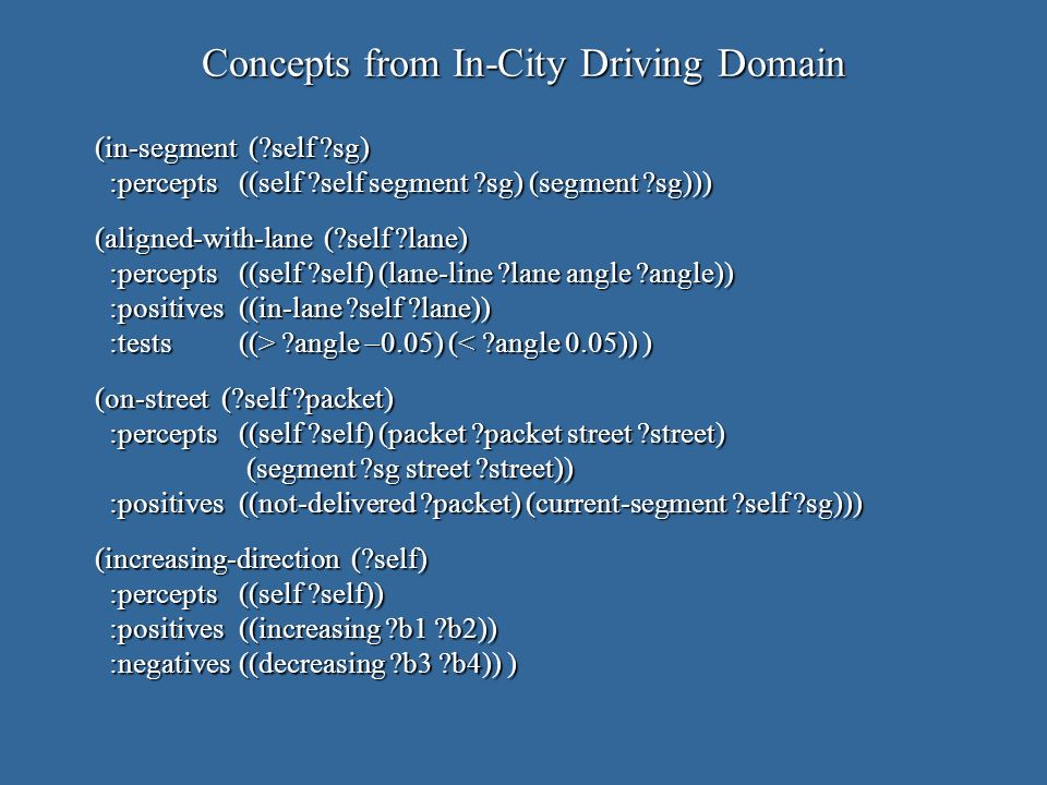 Concepts from In-City Driving Domain (in-segment ( self sg) :percepts((self self segment sg) (segment sg))) (aligned-with-lane ( self lane) :percepts((self self) (lane-line lane angle angle)) :positives((in-lane self lane)) :tests((> angle 0.05) ( angle 0.05) (< angle 0.05)) ) (on-street ( self packet) :percepts((self self) (packet packet street street) (segment sg street street)) :positives((not-delivered packet) (current-segment self sg))) (increasing-direction ( self) :percepts((self self)) :positives((increasing b1 b2)) :negatives((decreasing b3 b4)) )