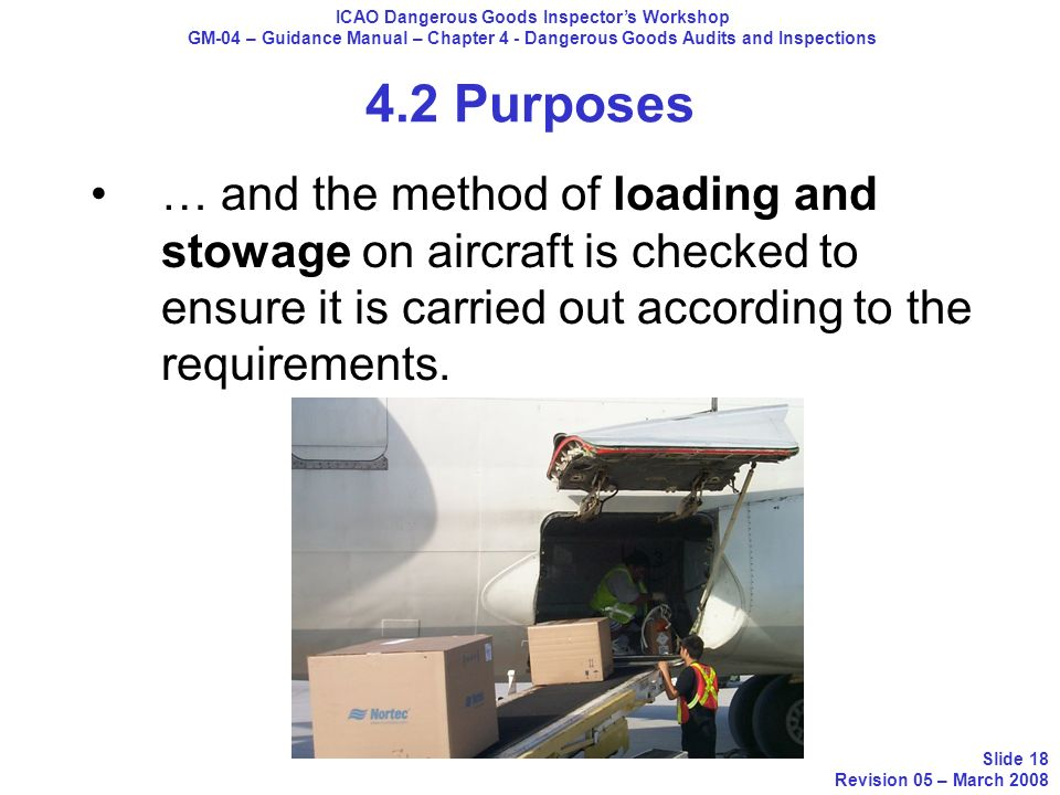 4.2 Purposes … and the method of loading and stowage on aircraft is checked to ensure it is carried out according to the requirements. ICAO Dangerous