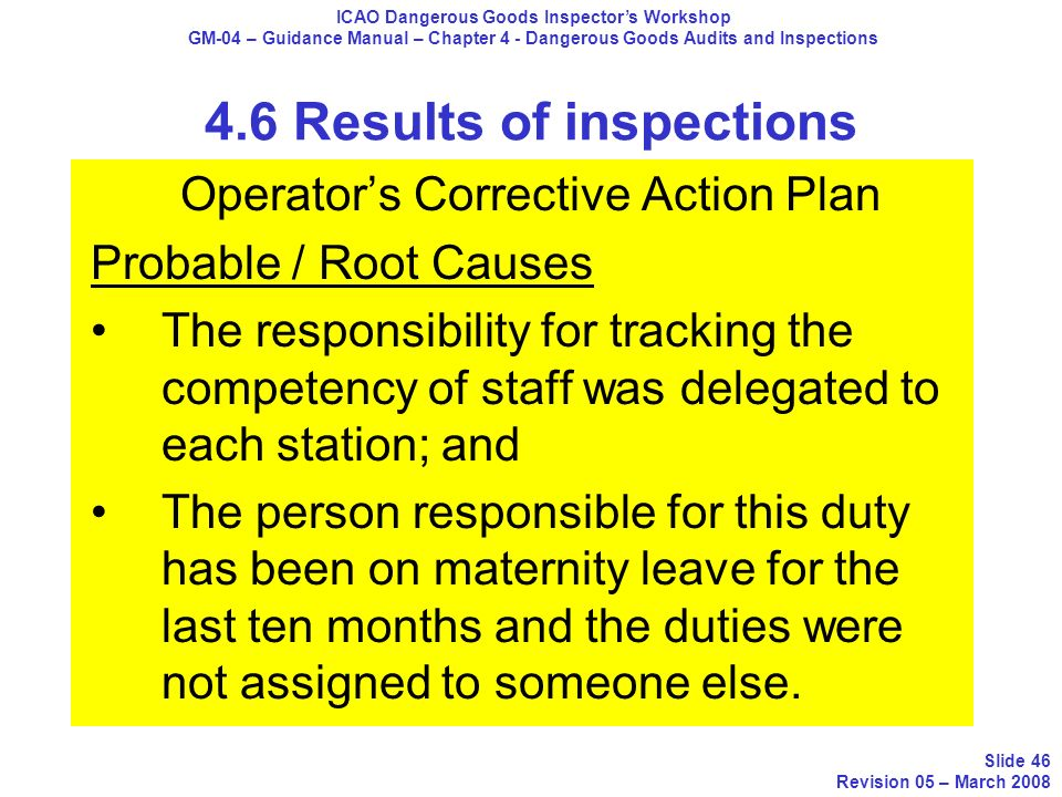 Operators Corrective Action Plan Probable / Root Causes The responsibility for tracking the competency of staff was delegated to each station; and The