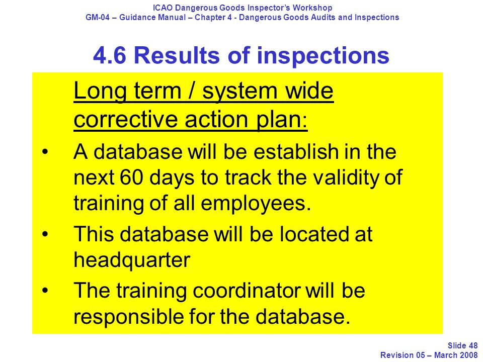 Long term / system wide corrective action plan : A database will be establish in the next 60 days to track the validity of training of all employees.