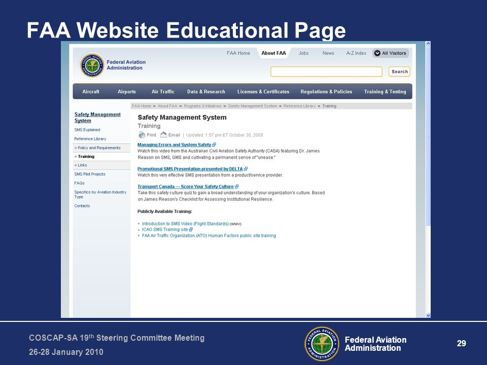 Federal Aviation Administration 29 COSCAP-SA 19 th Steering Committee Meeting January 2010 FAA Website Educational Page