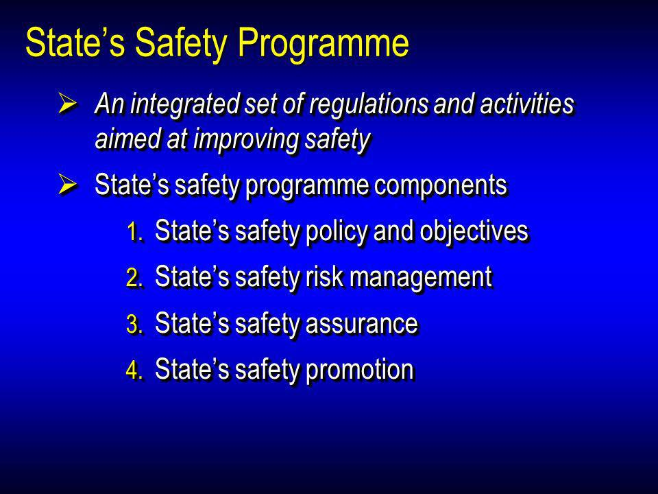 States Safety Programme An integrated set of regulations and activities aimed at improving safety An integrated set of regulations and activities aime
