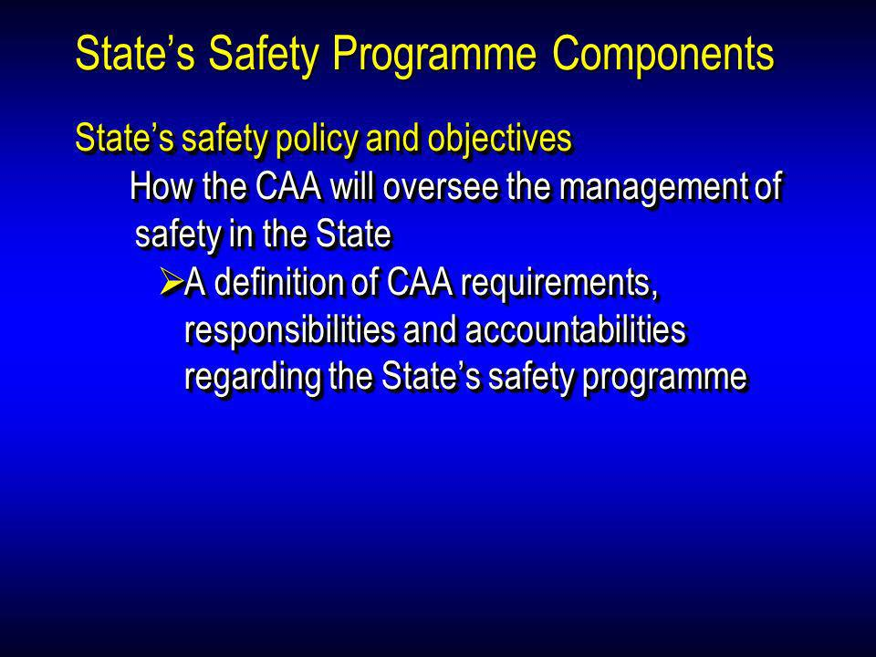 States Safety Programme Components States safety policy and objectives How the CAA will oversee the management of safety in the State A definition of