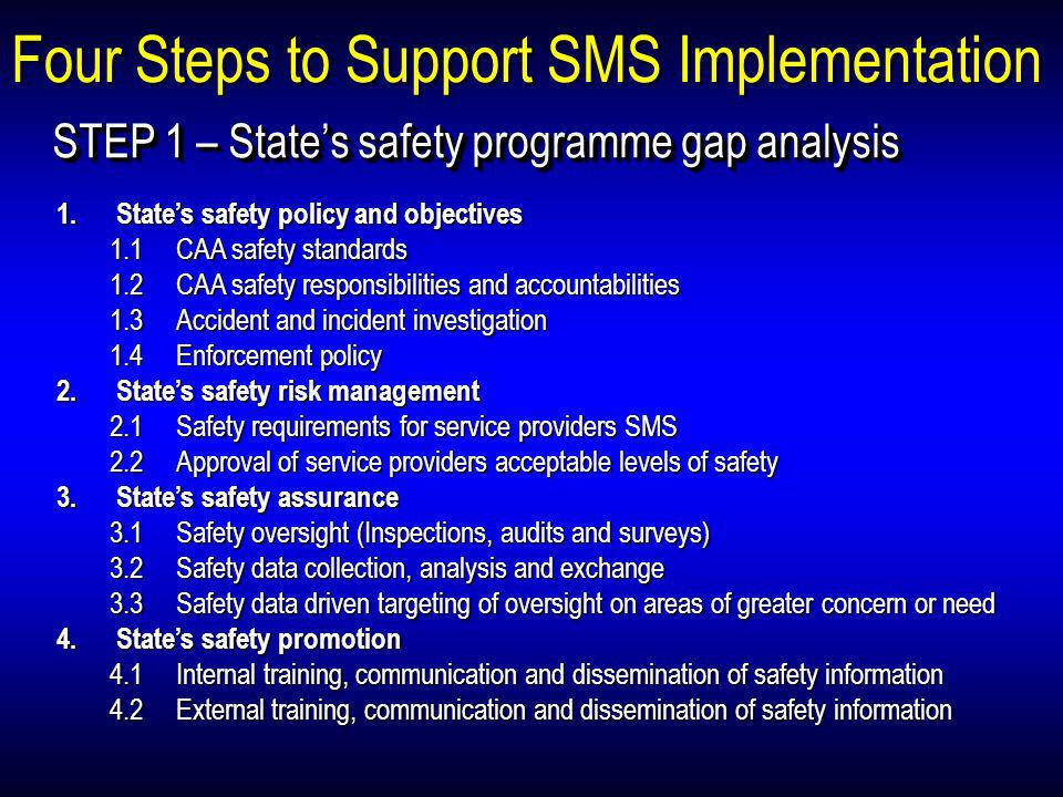 Four Steps to Support SMS Implementation STEP 1 – States safety programme gap analysis 1.States safety policy and objectives 1.1 CAA safety standards