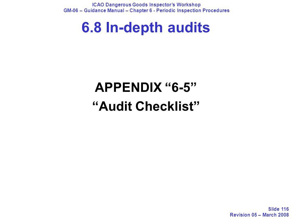 6.8 In-depth audits APPENDIX 6-5 Audit Checklist ICAO Dangerous Goods Inspectors Workshop GM-06 – Guidance Manual – Chapter 6 - Periodic Inspection Pr