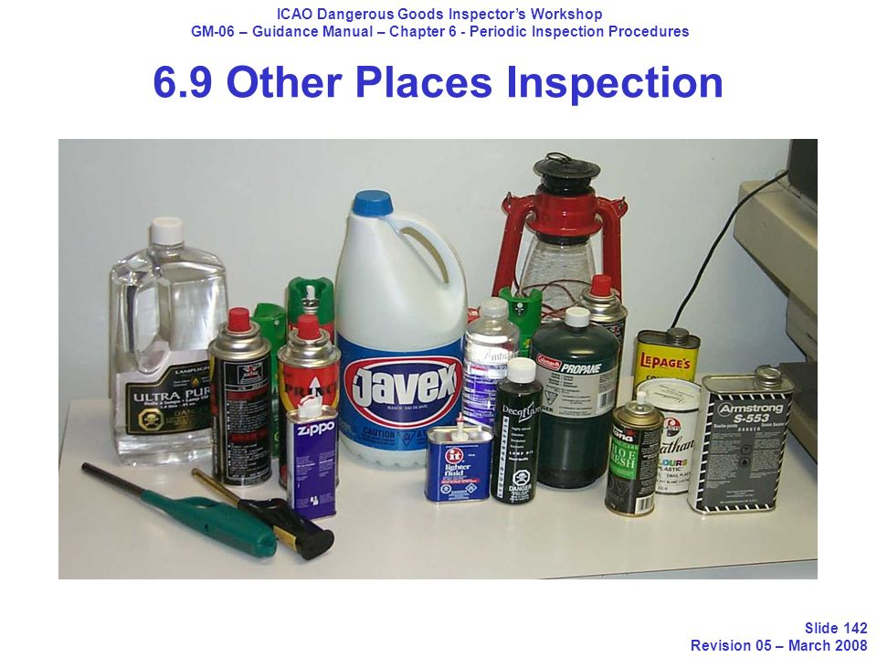 ICAO Dangerous Goods Inspectors Workshop GM-06 – Guidance Manual – Chapter 6 - Periodic Inspection Procedures Slide 142 Revision 05 – March 2008 6.9 O