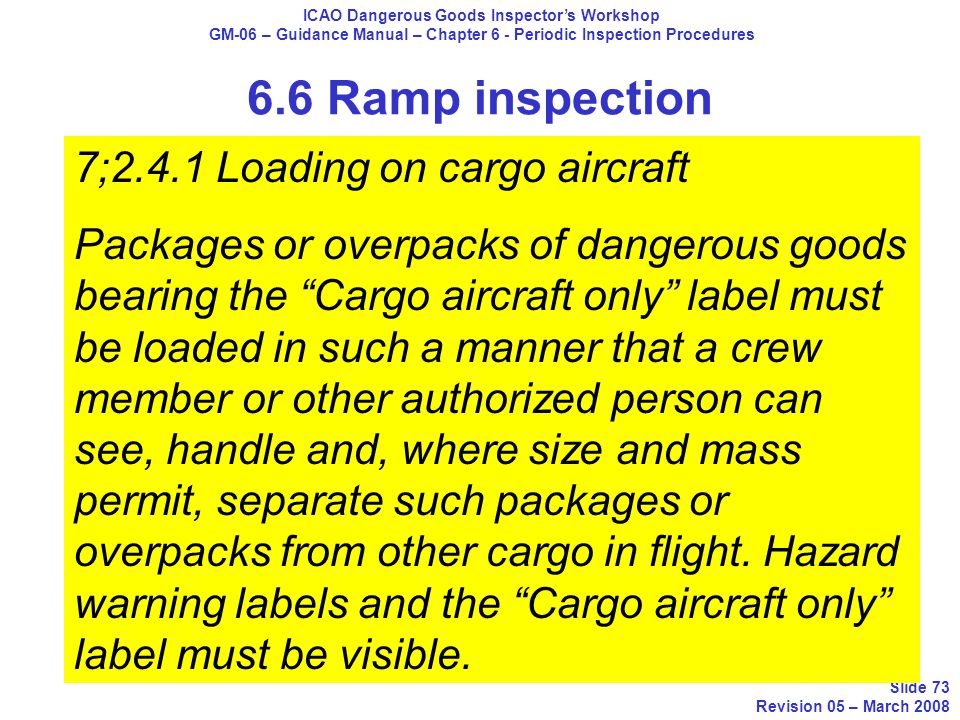 ICAO Dangerous Goods Inspectors Workshop GM-06 – Guidance Manual – Chapter 6 - Periodic Inspection Procedures Slide 73 Revision 05 – March 2008 6.6 Ra