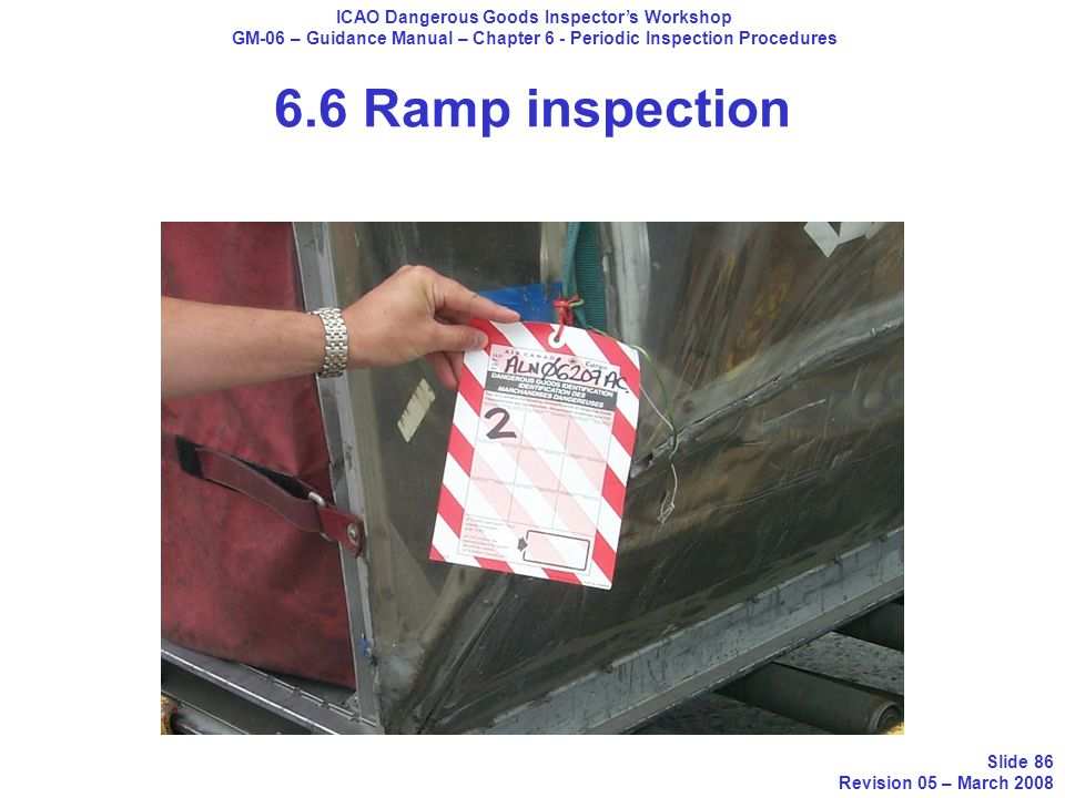 ICAO Dangerous Goods Inspectors Workshop GM-06 – Guidance Manual – Chapter 6 - Periodic Inspection Procedures Slide 86 Revision 05 – March 2008 6.6 Ra