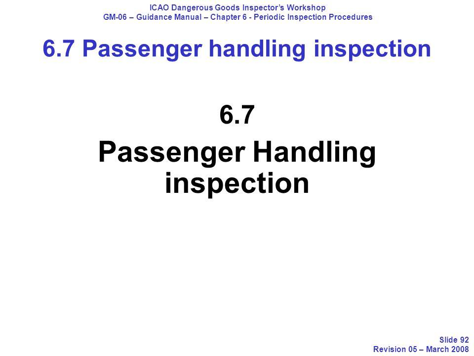 6.7 Passenger Handling inspection ICAO Dangerous Goods Inspectors Workshop GM-06 – Guidance Manual – Chapter 6 - Periodic Inspection Procedures Slide