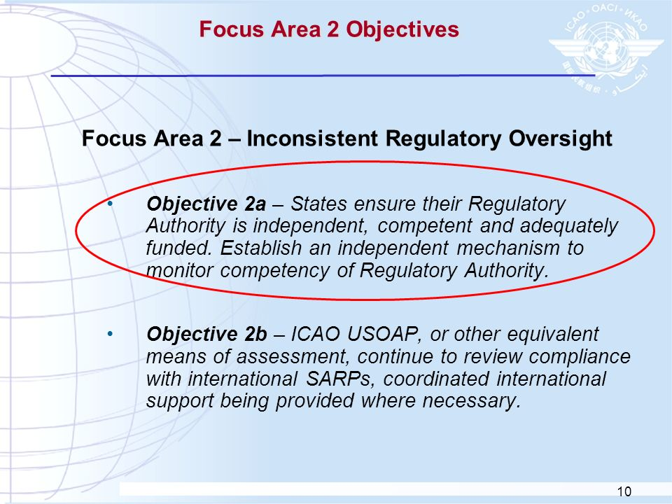 10 Focus Area 2 Objectives Focus Area 2 – Inconsistent Regulatory Oversight Objective 2a – States ensure their Regulatory Authority is independent, co