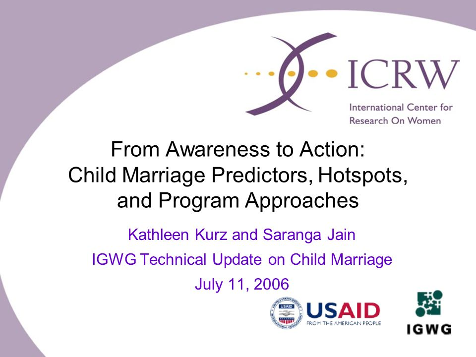 From Awareness to Action: Child Marriage Predictors, Hotspots, and Program Approaches Kathleen Kurz and Saranga Jain IGWG Technical Update on Child Marriage July 11, 2006