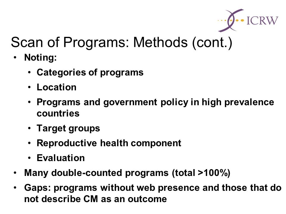 Scan of Programs: Methods (cont.) Noting: Categories of programs Location Programs and government policy in high prevalence countries Target groups Reproductive health component Evaluation Many double-counted programs (total >100%) Gaps: programs without web presence and those that do not describe CM as an outcome