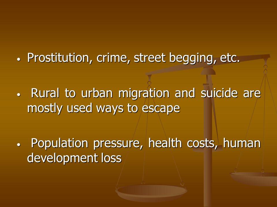 Prostitution, crime, street begging, etc. Prostitution, crime, street begging, etc.