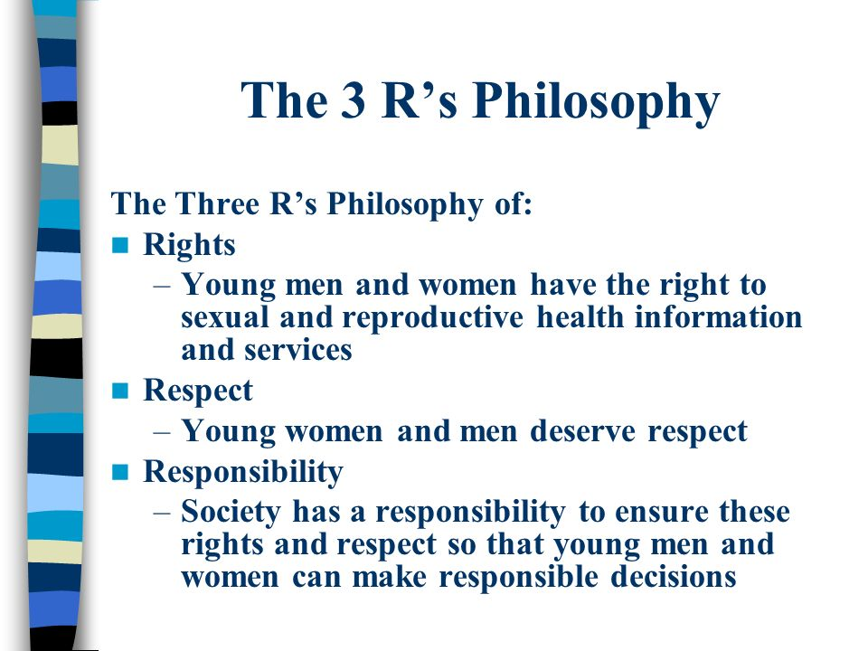 The 3 Rs Philosophy The Three Rs Philosophy of: Rights –Young men and women have the right to sexual and reproductive health information and services