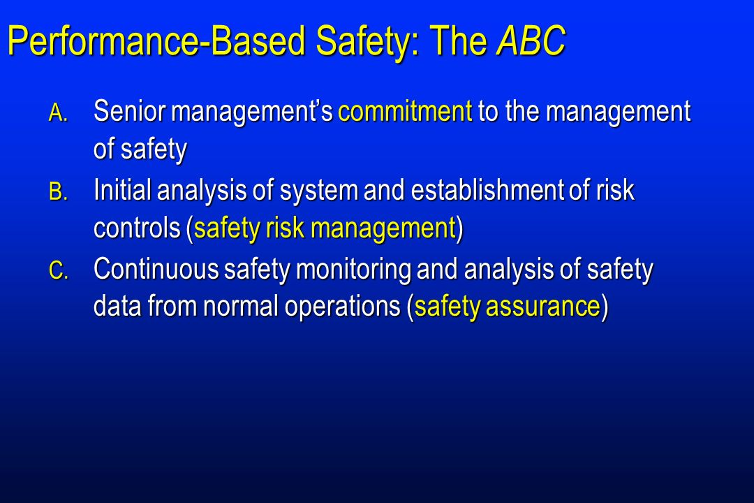 Performance-Based Safety: The ABC A. Senior managements commitment to the management of safety B. Initial analysis of system and establishment of risk