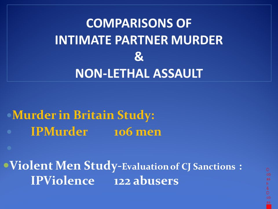 D ob as h & D ob as h COMPARISONS OF INTIMATE PARTNER MURDER & NON-LETHAL ASSAULT Murder in Britain Study: IPMurder 106 men Violent Men Study- Evaluation of CJ Sanctions : IPViolence 122 abusers