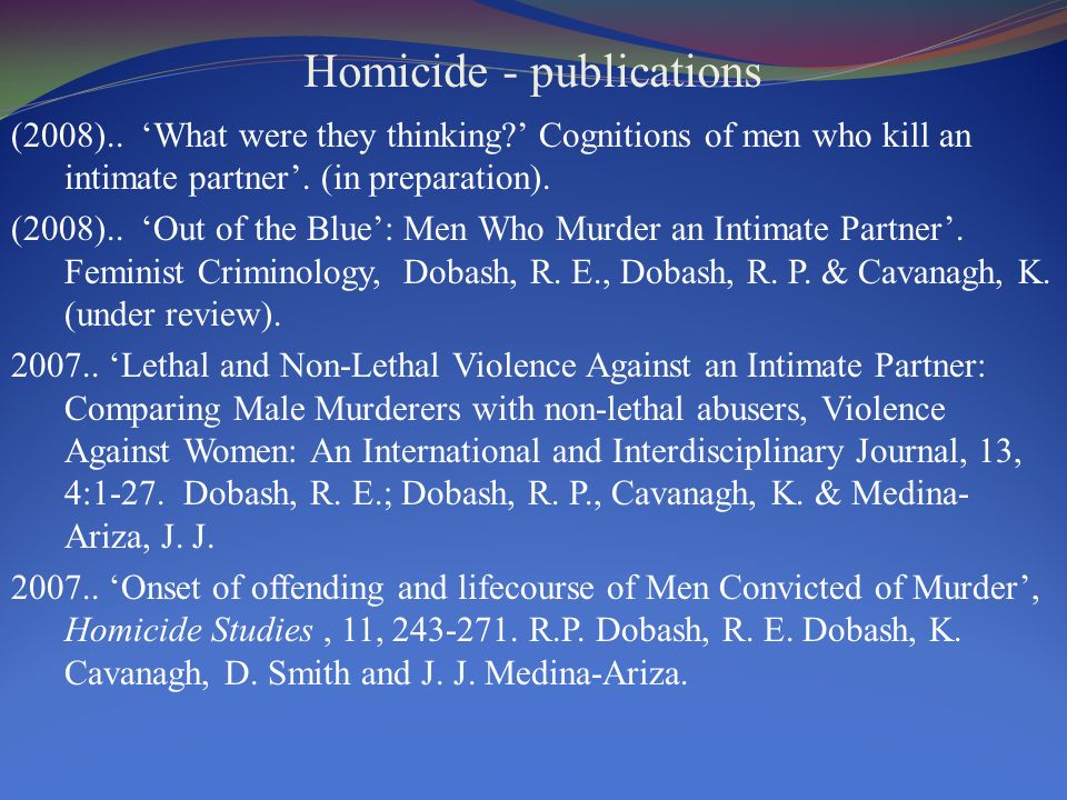 Homicide - publications (2008).. What were they thinking.