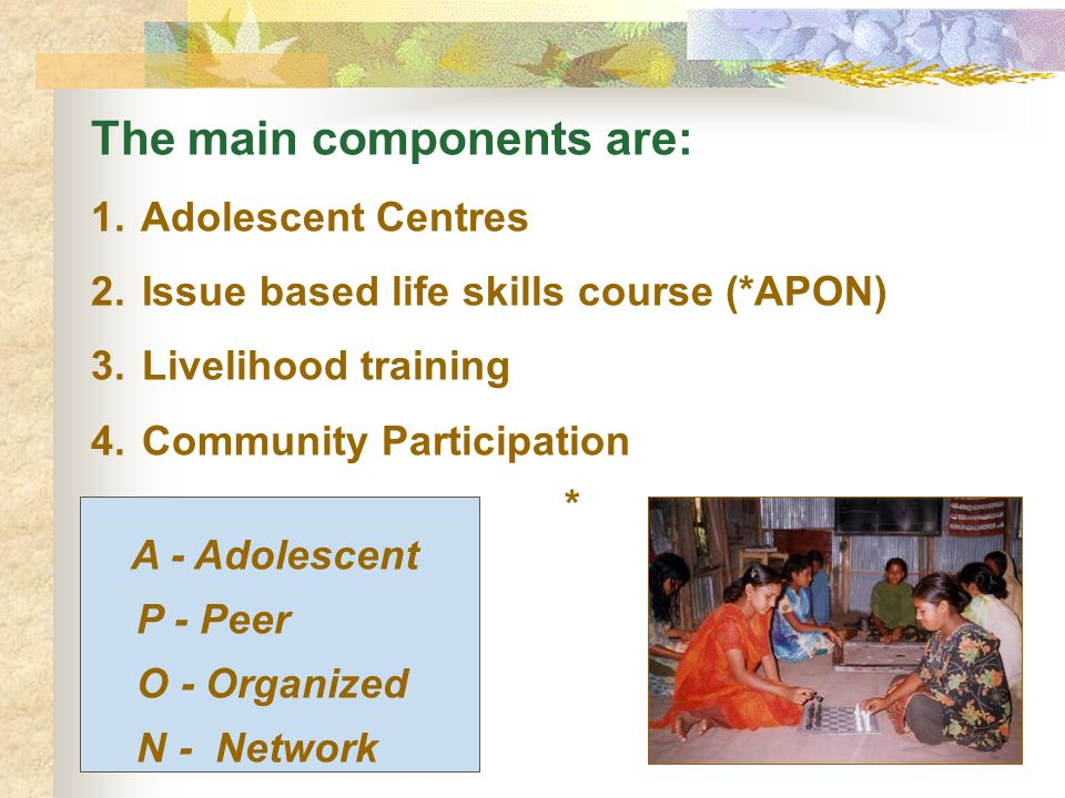 The main components are: 1.Adolescent Centres 2. Issue based life skills course (*APON) 3.