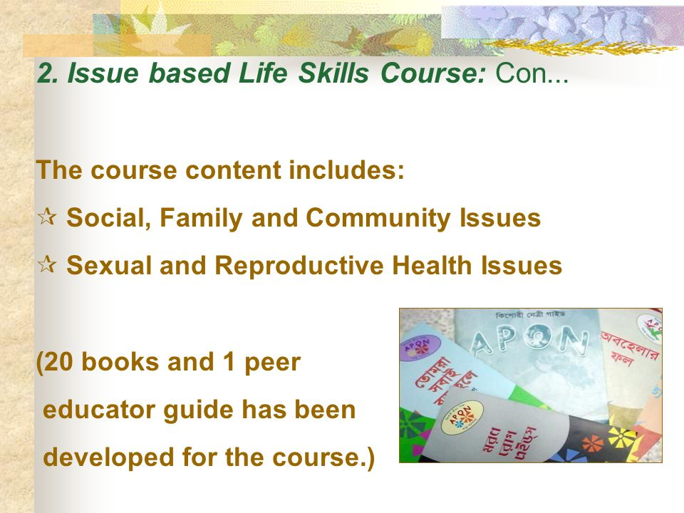 2.Issue based Life Skills Course: Con...