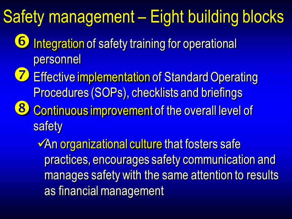 Safety management – Eight building blocks Integration Integration of safety training for operational personnel implementation Effective implementation of Standard Operating Procedures (SOPs), checklists and briefings Continuousimprovement Continuous improvement of the overall level of safety culture An organizational culture that fosters safe practices, encourages safety communication and manages safety with the same attention to results as financial management Integration Integration of safety training for operational personnel implementation Effective implementation of Standard Operating Procedures (SOPs), checklists and briefings Continuousimprovement Continuous improvement of the overall level of safety culture An organizational culture that fosters safe practices, encourages safety communication and manages safety with the same attention to results as financial management