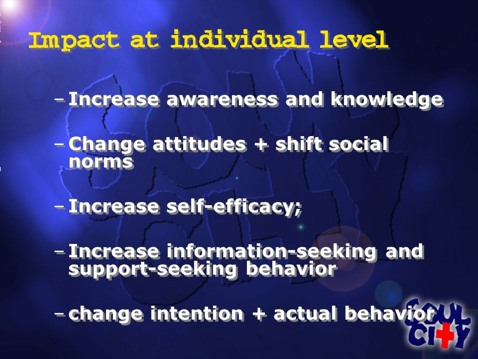 Impact at individual level –Increase awareness and knowledge –Change attitudes + shift social norms –Increase self-efficacy; –Increase information-seeking and support-seeking behavior –change intention + actual behavior –Increase awareness and knowledge –Change attitudes + shift social norms –Increase self-efficacy; –Increase information-seeking and support-seeking behavior –change intention + actual behavior