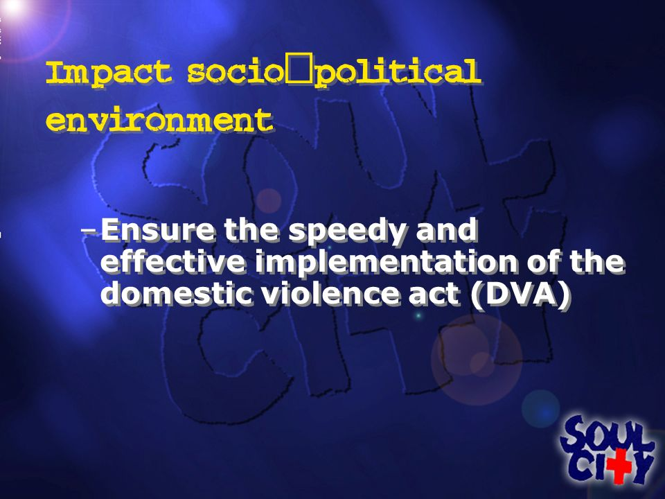 Impact socio - political environment –Ensure the speedy and effective implementation of the domestic violence act (DVA)