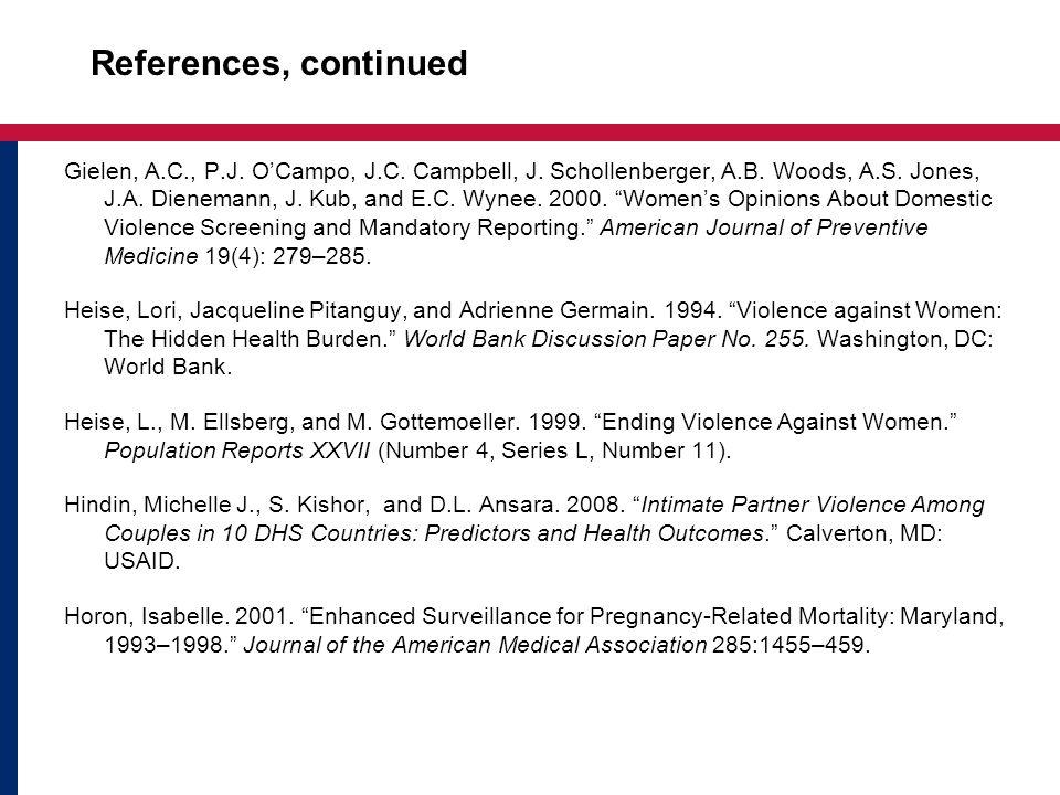 References, continued Gielen, A.C., P.J. OCampo, J.C. Campbell, J. Schollenberger, A.B. Woods, A.S. Jones, J.A. Dienemann, J. Kub, and E.C. Wynee. 200