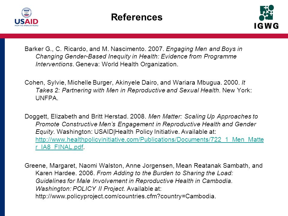 References Barker G., C. Ricardo, and M. Nascimento.