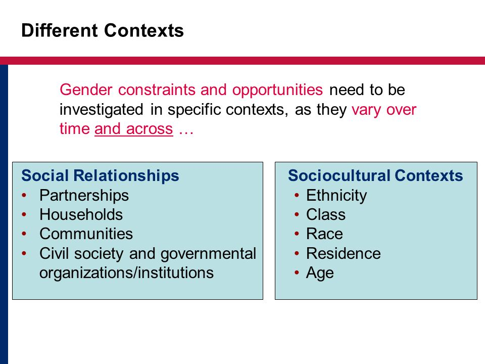 Different Contexts Gender constraints and opportunities need to be investigated in specific contexts, as they vary over time and across … Social Relat