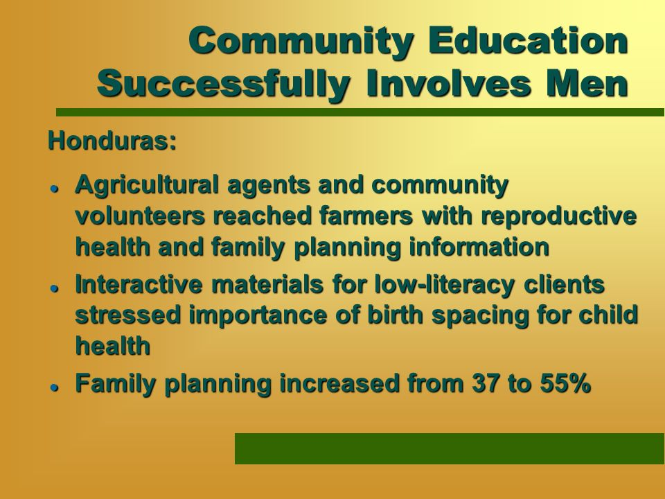 Community Education Successfully Involves Men l Agricultural agents and community volunteers reached farmers with reproductive health and family plann