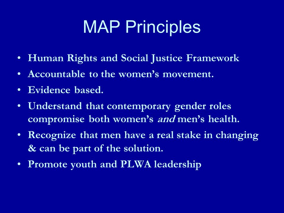 MAP Principles Human Rights and Social Justice Framework Accountable to the womens movement.