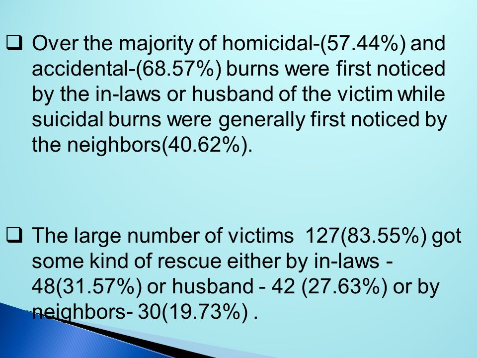 Over the majority of homicidal-(57.44%) and accidental-(68.57%) burns were first noticed by the in-laws or husband of the victim while suicidal burns