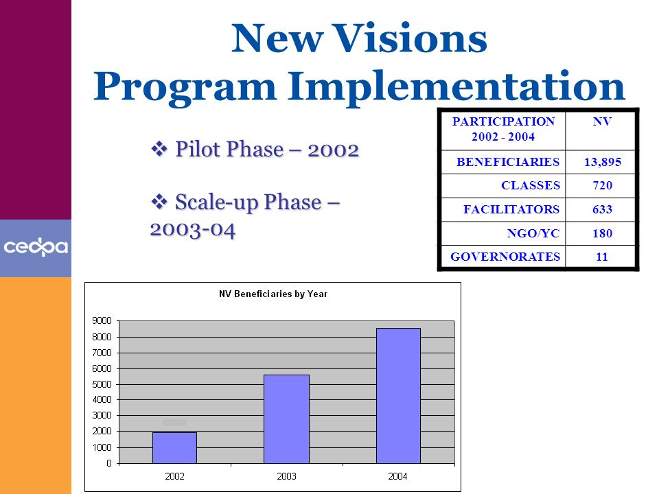 New Visions Program Implementation PARTICIPATION 2002 - 2004 NV BENEFICIARIES13,895 CLASSES720 FACILITATORS633 NGO/YC180 GOVERNORATES11 Pilot Phase – 2002 Pilot Phase – 2002 Scale-up Phase – 2003-04 Scale-up Phase – 2003-04