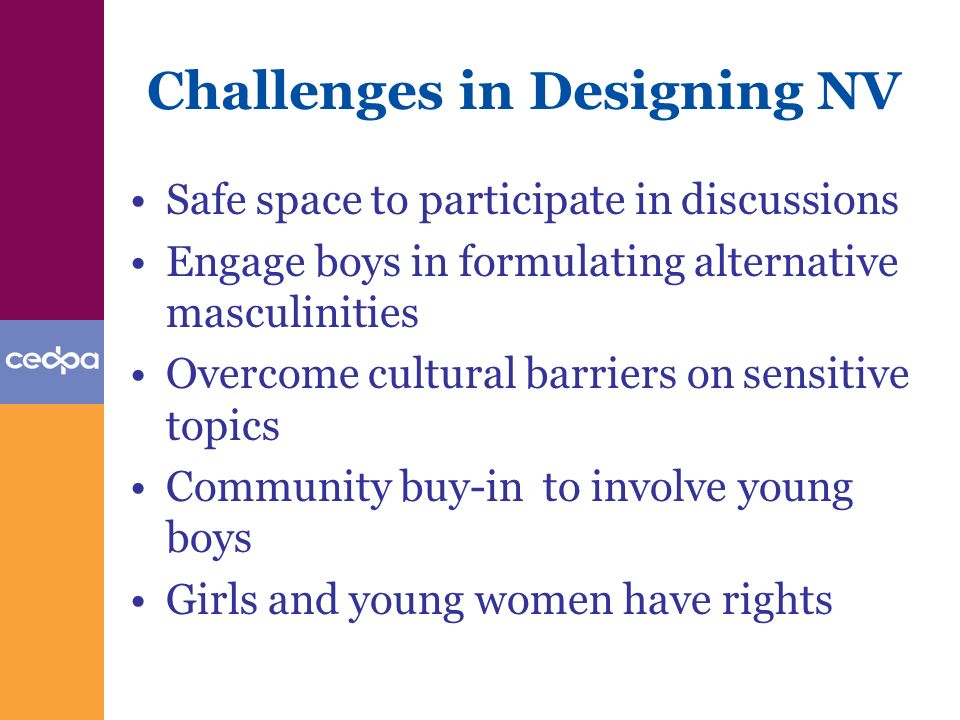 Challenges in Designing NV Safe space to participate in discussions Engage boys in formulating alternative masculinities Overcome cultural barriers on sensitive topics Community buy-in to involve young boys Girls and young women have rights