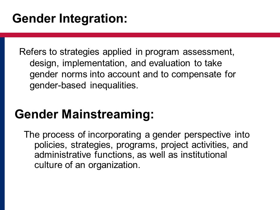 Gender in the Foreign Assistance Framework Two gender sub-Key Issues are identified in the Operational Plan: –Increasing Gender Equity –Reducing Gender-based Violence The sub-Key Issues cut across all Functional Objectives All individual-level indicators to be disaggregated by sex