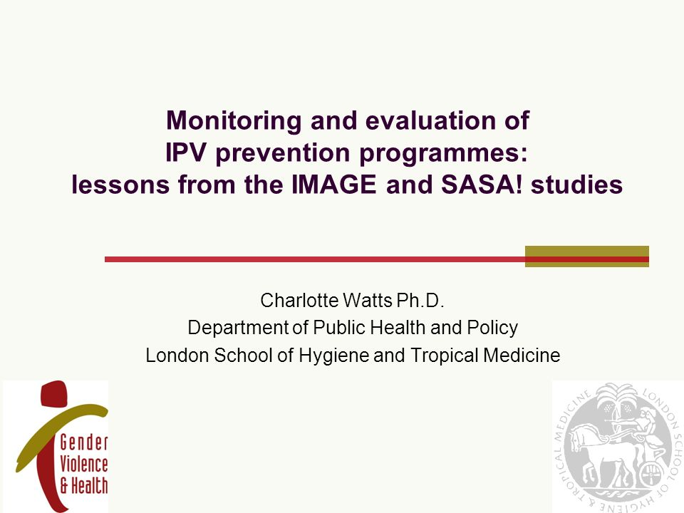 Monitoring and evaluation of IPV prevention programmes: lessons from the IMAGE and SASA.