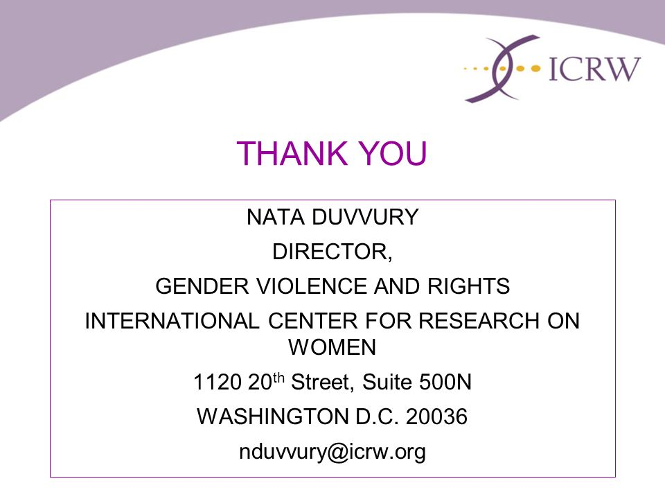 THANK YOU NATA DUVVURY DIRECTOR, GENDER VIOLENCE AND RIGHTS INTERNATIONAL CENTER FOR RESEARCH ON WOMEN th Street, Suite 500N WASHINGTON D.C.