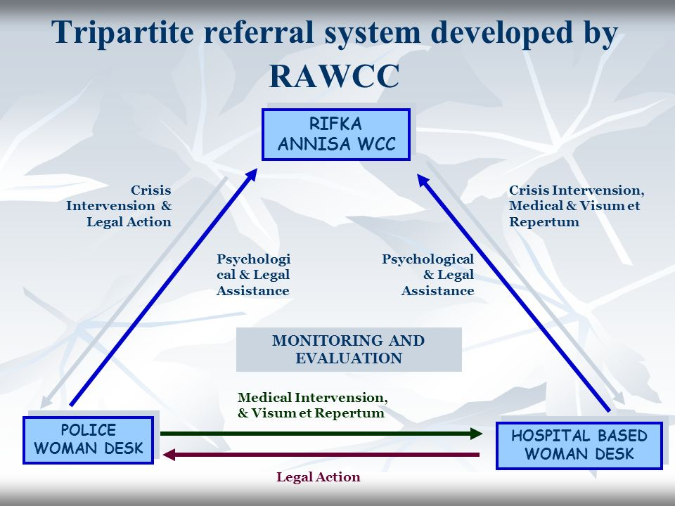 RIFKA ANNISA WCC POLICE WOMAN DESK HOSPITAL BASED WOMAN DESK Crisis Intervension, Medical & Visum et Repertum Psychological & Legal Assistance Crisis Intervension & Legal Action Medical Intervension, & Visum et Repertum Legal Action MONITORING AND EVALUATION Psychologi cal & Legal Assistance Tripartite referral system developed by RAWCC