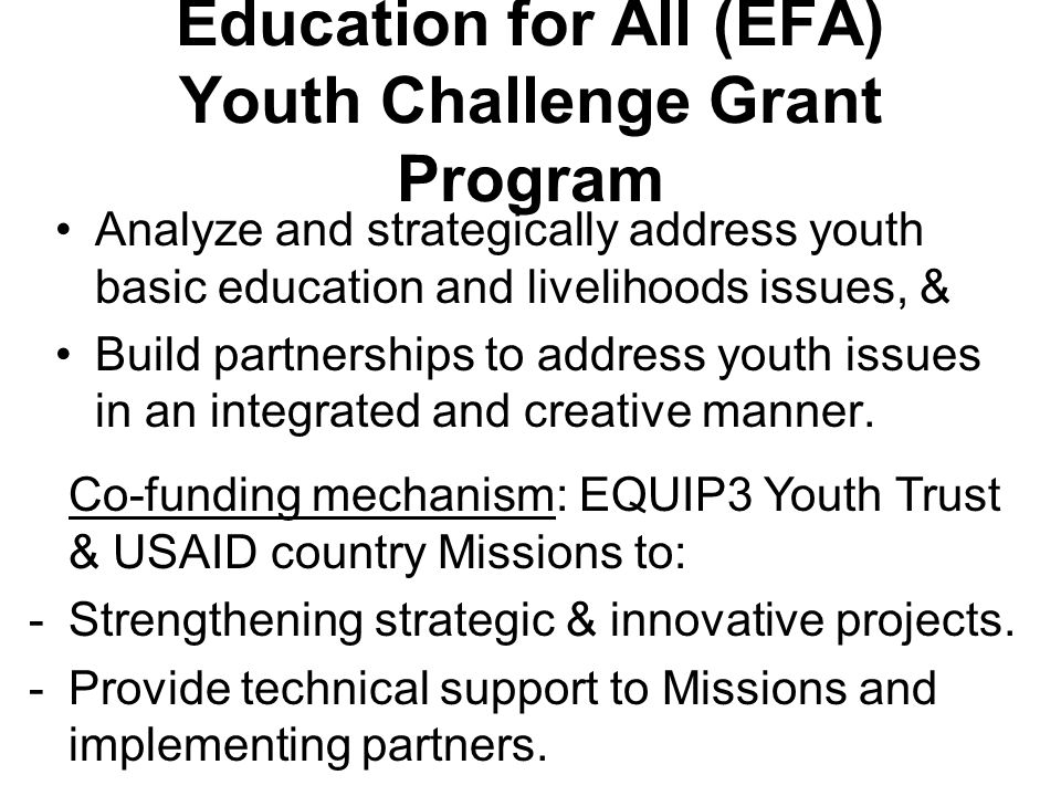 Education for All (EFA) Youth Challenge Grant Program Analyze and strategically address youth basic education and livelihoods issues, & Build partnerships to address youth issues in an integrated and creative manner.
