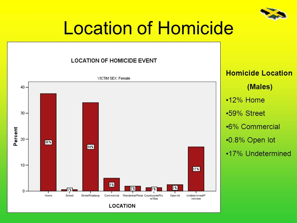 Homicide Location (Males) 12% Home 59% Street 6% Commercial 0.8% Open lot 17% Undetermined Location of Homicide