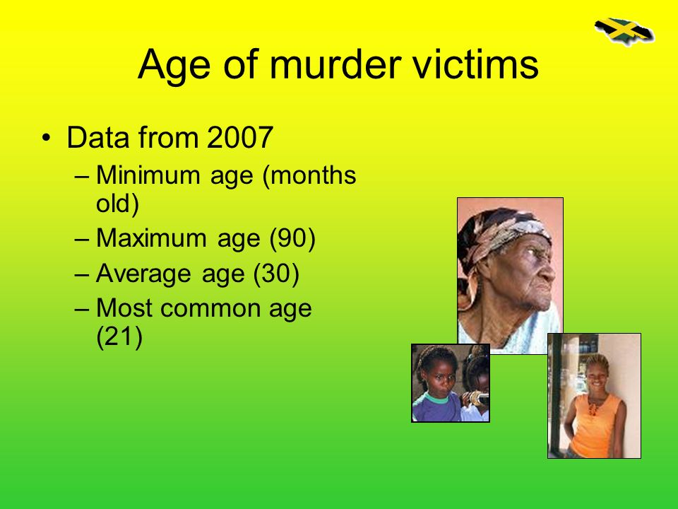 Age of murder victims Data from 2007 –Minimum age (months old) –Maximum age (90) –Average age (30) –Most common age (21)