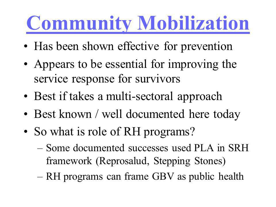Community Mobilization Has been shown effective for prevention Appears to be essential for improving the service response for survivors Best if takes a multi-sectoral approach Best known / well documented here today So what is role of RH programs.