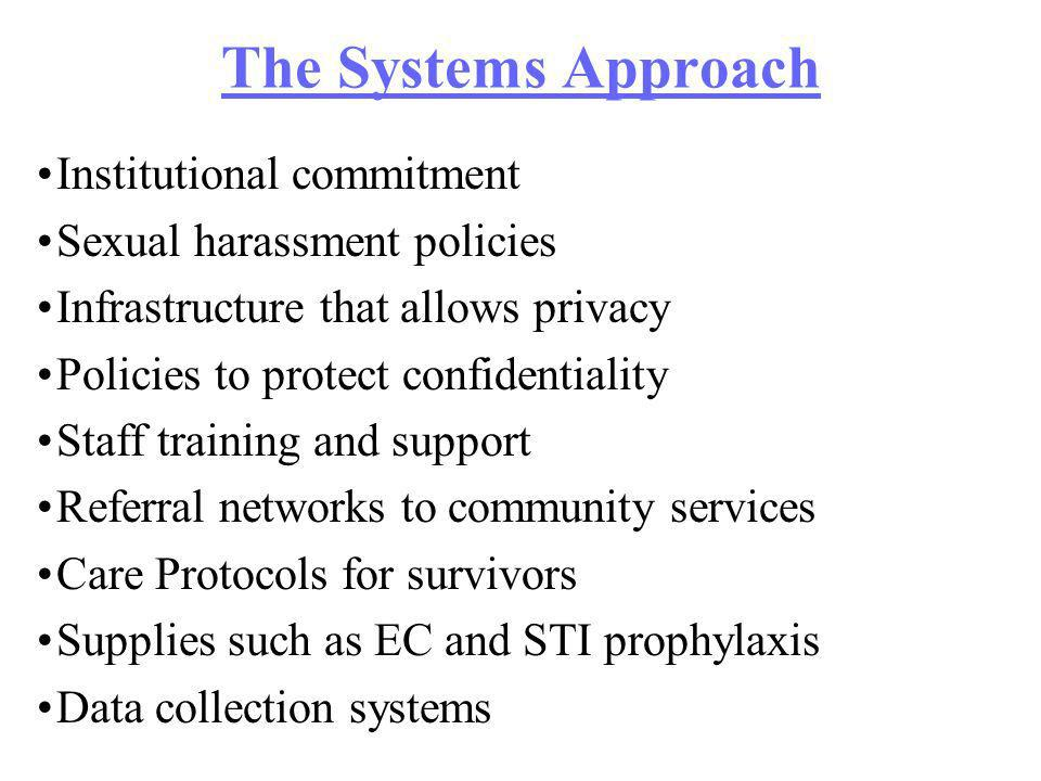 The Systems Approach Institutional commitment Sexual harassment policies Infrastructure that allows privacy Policies to protect confidentiality Staff training and support Referral networks to community services Care Protocols for survivors Supplies such as EC and STI prophylaxis Data collection systems