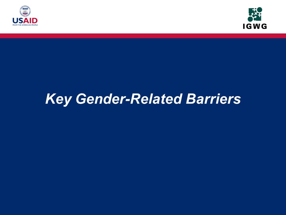 Key Gender-Related Barriers
