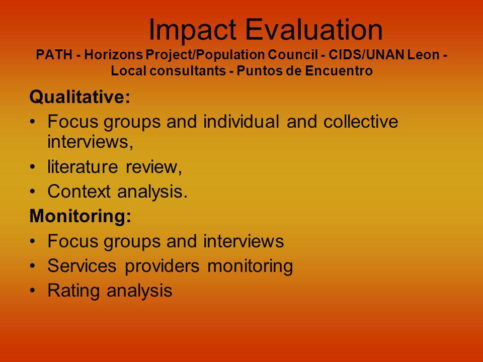 Impact Evaluation PATH - Horizons Project/Population Council - CIDS/UNAN Leon - Local consultants - Puntos de Encuentro Qualitative: Focus groups and