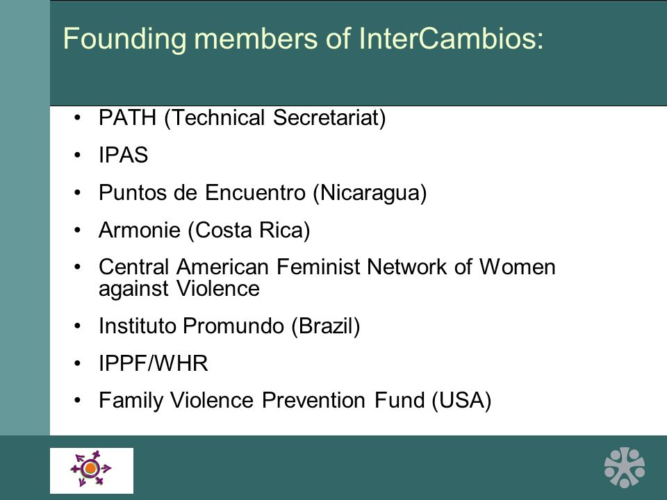 PATH (Technical Secretariat) IPAS Puntos de Encuentro (Nicaragua) Armonie (Costa Rica) Central American Feminist Network of Women against Violence Instituto Promundo (Brazil) IPPF/WHR Family Violence Prevention Fund (USA) Founding members of InterCambios: