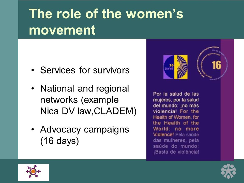 The role of the womens movement Services for survivors National and regional networks (example Nica DV law,CLADEM) Advocacy campaigns (16 days)