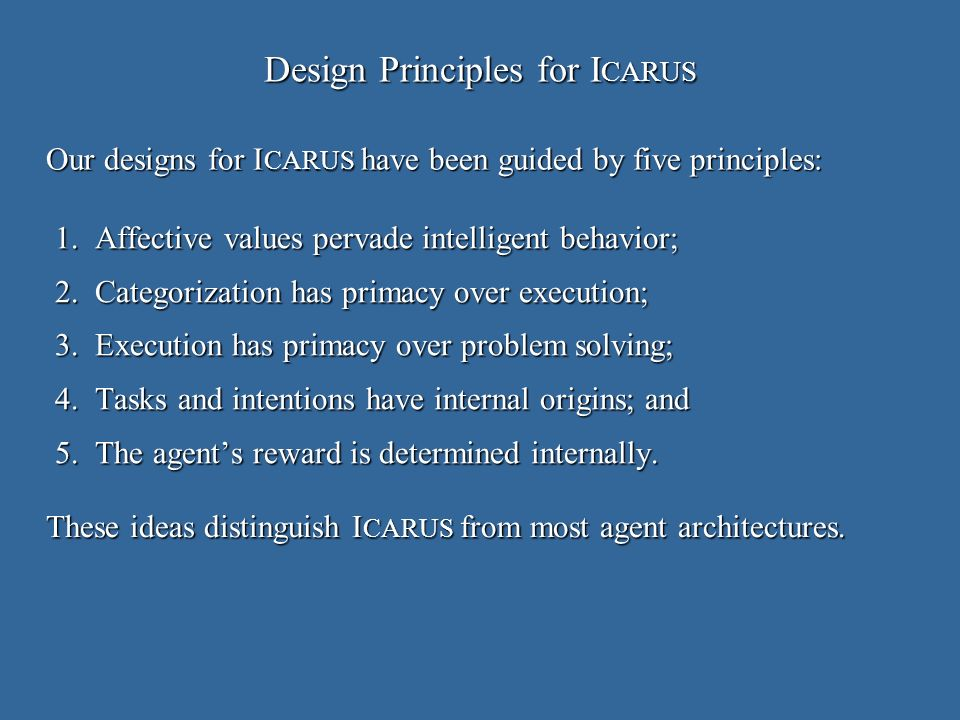 Design Principles for I CARUS 1.Affective values pervade intelligent behavior; 2.