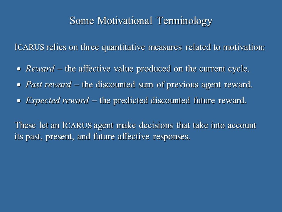 Some Motivational Terminology Reward the affective value produced on the current cycle.